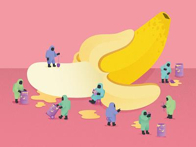 City of Physics - Nuclear Nutrient pastel banana radioactive nuclear vector illustration