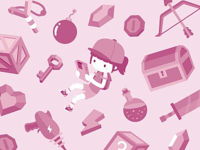 Critical Hits digital illustration vector icons gaming games retro illustration