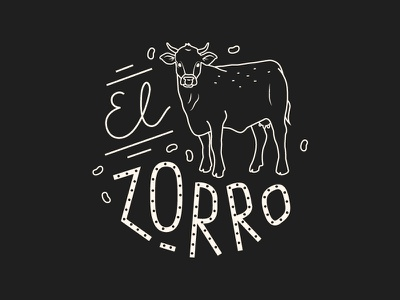 El Zorro illustration chalkboard food mexican beef bull cow line restaurant lettering menu