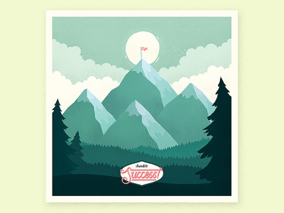 Fundit is Five! teal flag clouds sky forest trees mountain mountains landscape illustration fundit success