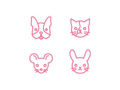 Pets puppy kitten bunny rabbit cat mouse dog pets petshop icon set icons