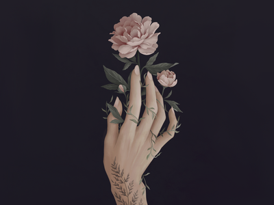 Bloom growth life plant garden leaves pink rose flower flora floral peonies peony vintage illustration tattoo hand
