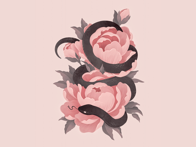 Anguis ipadpro procreate pretty witch pink black leaves animal garden flora fauna painting illustration peonies peony snake