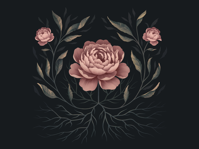 Botanica pattern roots ipadpro plant illustration drawing procreate painting vines growth plant leaves garden flora flowers peony roses rose peonies flower