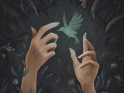 Lumos leaves foliage sorcerer witch conjuration conjure spell flowers magic animal night dark garden digital illustration digital painting illustration hands bird hummingbird