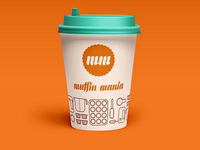 "Muffin Mania Coffee Shop & ""Muffinery"" logo design brand identity design logo product design"