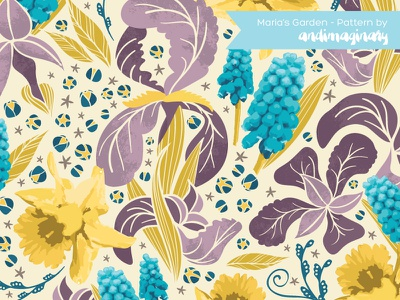 Maria's Garden Pattern textile design pattern illustration