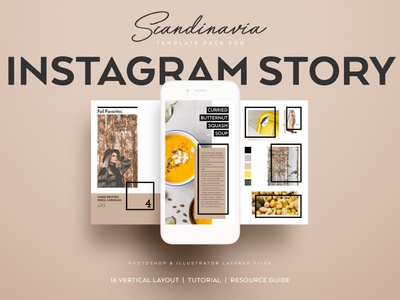 Scandinavia Instagram Story Template Pack nordic scandinavian illustrator photoshop temples instagram story instagram