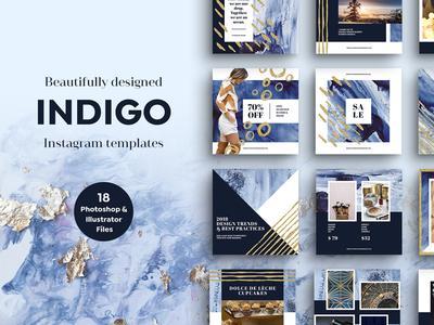 INDIGO Instagram Templates aquarel ink indigo blue gold photoshop instagram template texture watercolor social media