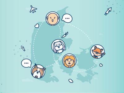 PetSpot Crowdfunding chat map fly fireworks rabbit cat dog human pet animal illustration crowdfunding