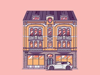 Apartment car lockdown house apartment illustrator