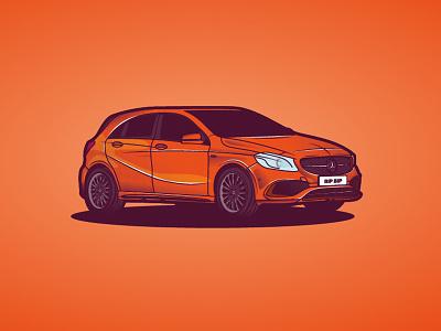 Mercedes Class A auto cool orange vector illustration car classa mercedes
