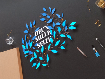 2016 Wishes winter tree typography design tactil cut paper handmade wishes 2016 year new