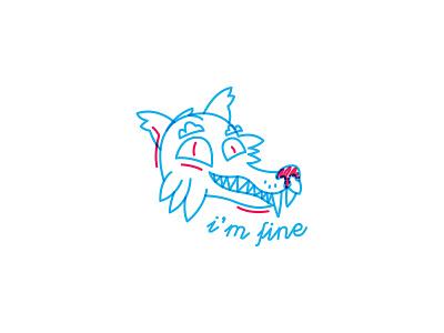 Monday wolf doodle cartoon loup work fine wolf monday