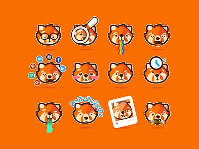 Baku stickers animal fox fire head emoji stickers orange panda red