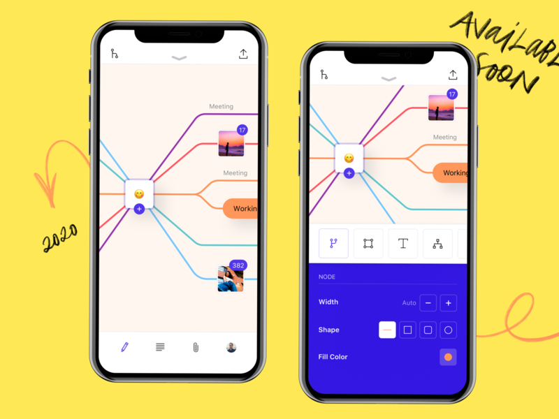 Mind App interface mobile ios iphone sketch ui ux mind diagrams ideas notes planning mind map