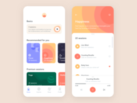 Meditation App design illustration mobile ios iphone ui ux flat clean simple sketch interface yoga player meditation app meditation