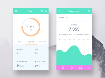 Fitness app design concept fitness activties sport tracker heart rate visualization ui ux sketch android mobile ios iphone flat clean simple art animation interface