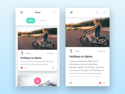 Blog app design concept