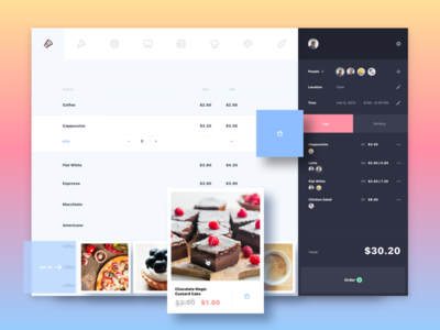 Cafe | Event app design concept horeca restaurant cafe ui ux sketch android mobile ios iphone interface flat clean simple art animation