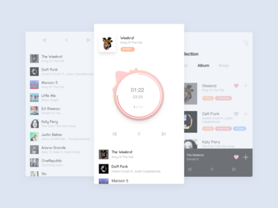 Music player app design concept music player ui ux sketch android mobile ios iphone flat clean simple art animation interface