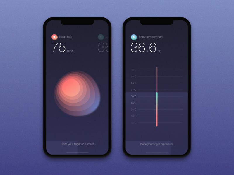 Healthcare App temperature rate heart mobile medical map ios health doctor design app
