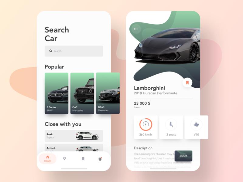 Car Rental App 🔥 car app car rental cards book booking choose car rent a car rent bmw mercedes lamborghini concept ui ux gradient search graphic speed map green ios