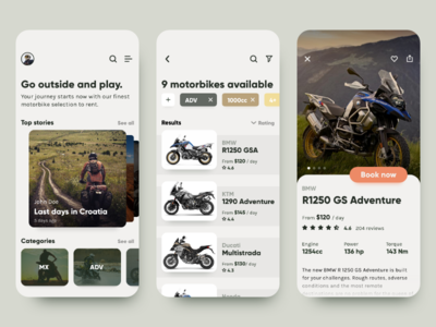 Concept Motorbike Rental mobile rental motorbike ui concept mobile