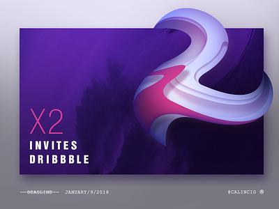 X2 Dribble Invite - Layout And Illustration brand curvy winter 2 invitation ui web minimal layout illustration invite