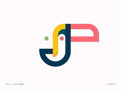 Jolly bird paradise rainforrest tropical man tucano logotype mark illustration design symbol brand logo minimal