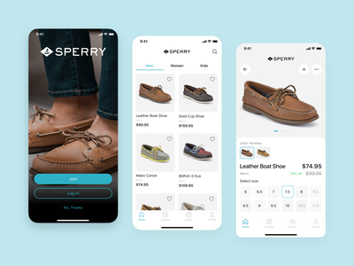 Online Shop App «Sperry» card design shop clean tabs filter tabbar minimal ui ux online shop mobile app project icons ios creative
