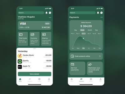 Mobile banking app user money finance green web figma redesign application design ux ui bank mobile app
