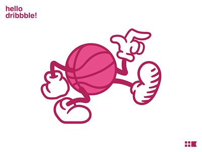 Hello Dribbble! hello dribbble mascot illustration