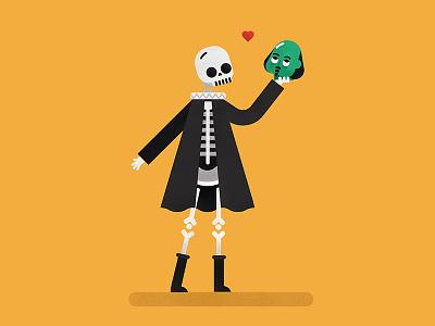 Bardolatry illustration admiration hamlet shakespeare skeleton skull weirder words