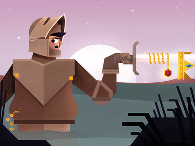 Greedy Knight jewels drown greed illustration weert peel knight