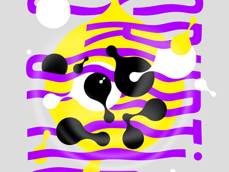 Poster for Event Series, Detail yellow purple dots waves warped metaballs design poster