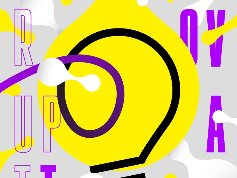 Poster for Event Series 2, Detail lightbulb yellow purple dots metaballs design poster