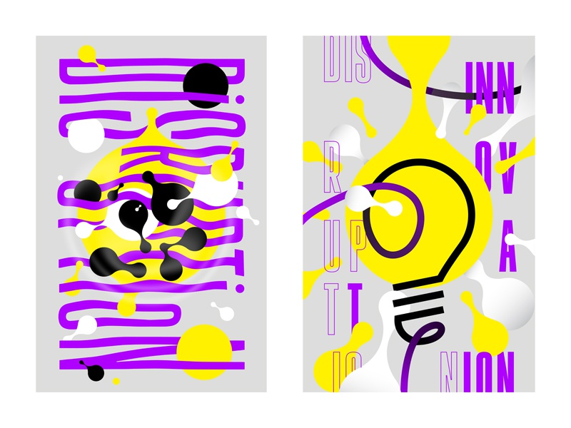 Poster for Event Series 1+2 innovation disruption lightbulb yellow purple dots waves warped metaballs design poster