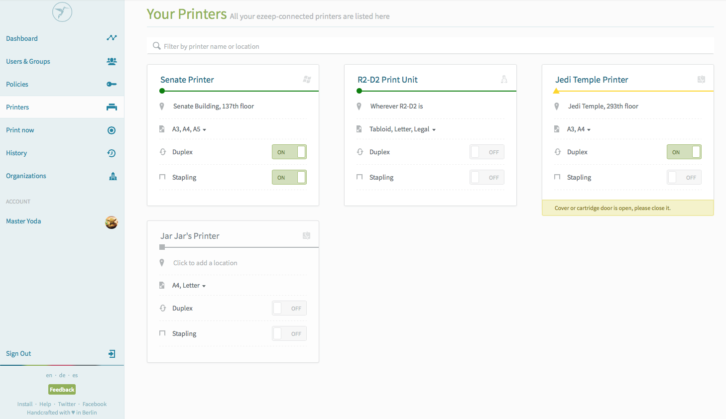 Web app   printers