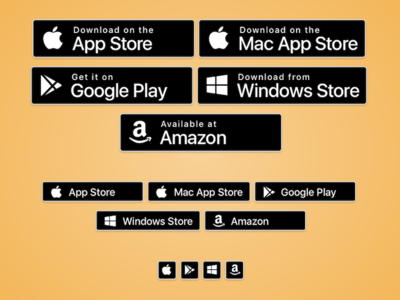 CSS App Store Badges windows play store amazon android mac ios button badge app store