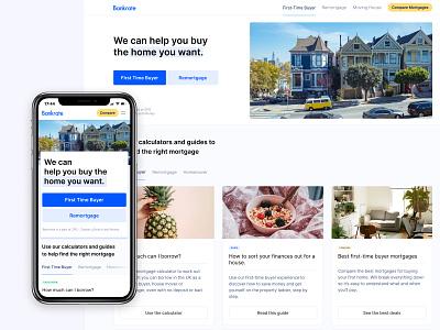 Bankrate UK Homepage product design ux desktop mobile redesign responsive homepage design ui web