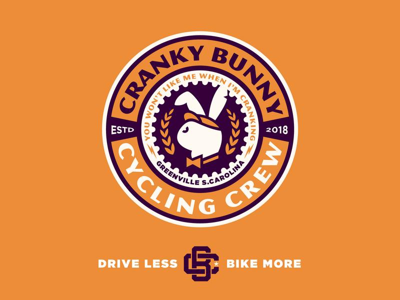Cranky Bunny Cycling Crew badge design badge logo cranky bunny logo mark greenville logodesign biking cycling badge