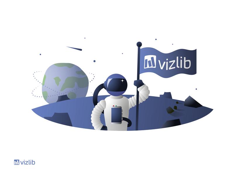 Redefine What's Possible! horizon explorer stars planet earth flag data visualization vizlib space astronaut identity branding design illustration