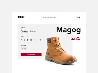 #012 E-Commerce Shop ui redesign shoes kodiak 100 days of ui 012