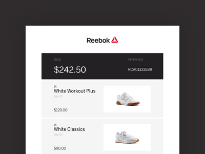 #017 Email Receipt ui receipt email reebok 100 days of ui 017