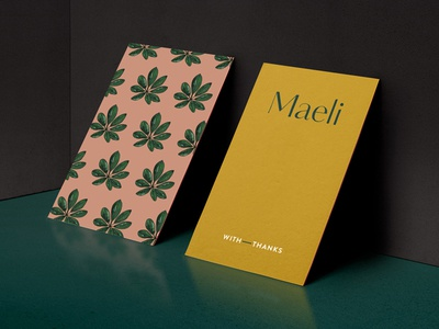 Maeli florist thank you cards hand lettered florist. mustard foliage blush visual identity brand identity pattern illustration branding