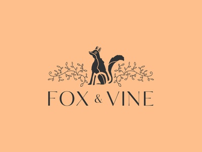 Fox and Vine branding logo design illustration peach fox and vine logo design brand identity branding visual identity fox logo