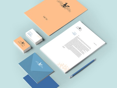 Branded collateral for Fox and Vine, a little deli-cafe coffee deli cafe stationery blue peach fox and vine visual identity branding collateral print