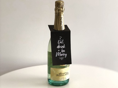 Eat, drink + be merry / free wine bottle gift tag download typographic silver black downloadable wine bottle gift tag free christmas