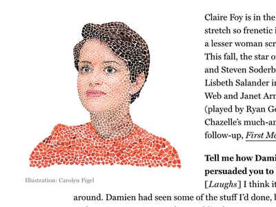 New work for NYmag! figel for hire claire foy new york magazine faces portrait illustration carolyn figel